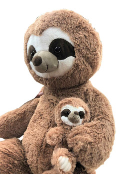 Giant Stuffed Sloth with Baby 44 Inches Soft 112 cm Big Plush Huge Cuddly Stuffed Animal Beige Color