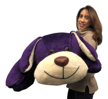 Big Plush American Made Giant Stuffed Puppy Dog 5 Feet Long Squishy Soft Extremely Large Plush Dark Royal Purple Color