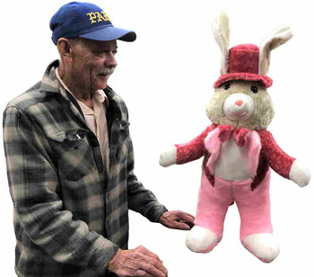 32 inches tall Big Plush bunny rabbit wears a tuxedo and makes a great gift that's made in the USA