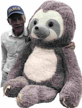 Large Stuffed Sloth 4 Feet Tall 48 Inches Soft 122 cm Big Plush Jumbo Stuffed Animal Gray Color