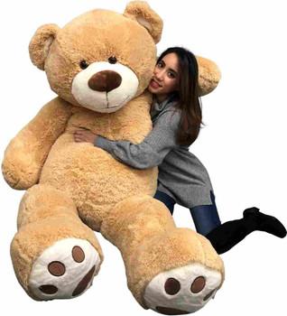 Big Plush Giant 6 Foot Teddy Bear Six Feet Tall 72 inches 183 cm Tan Color Soft Smiling Big Teddybear 6 Foot Bear Ultra Premium Quality