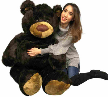 Big Plush American Made Giant 5ft Teddy Bear 5 Feet Tall 60 Inches 152 cm Dark Brown Color Soft Big Teddybear 5 Foot Bear Made in the USA