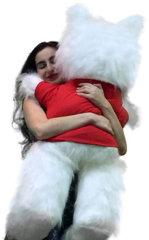 Big Plush® Giant White Teddy Bear 46 inches Soft Wears T-shirt I Socially Distantly Love you