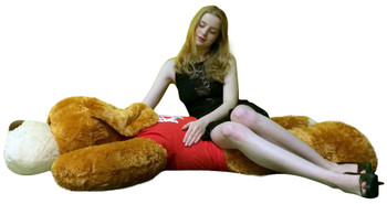 Big Plush® Giant Stuffed Dog 5 Foot Brown Soft Wears T shirt that reads I Socially Distantly Love You