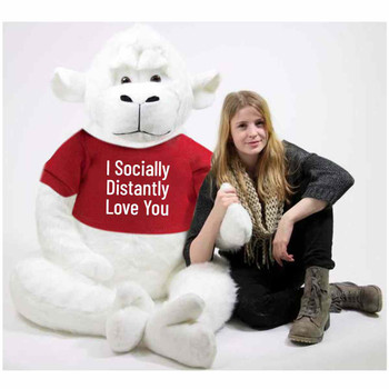 Big Plush® White 6 Foot Giant Stuffed Gorilla Wears Tshirt that Reads I Socially Distantly Love You,  72 Inches 183 cm Soft Huge Stuffed Monkey