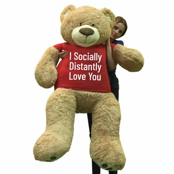 Big Plush® Giant 5 Foot Teddy Bear Soft, Wears Tshirt that Reads I Socially Distantly Love You