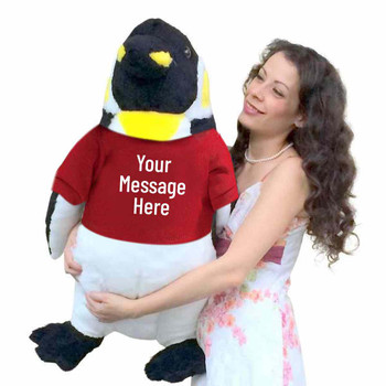 Your custom text is printed on the red tshirt that this Big Plush penguin is wearing. The shirt can be removed without damaging the stuffed animal.
