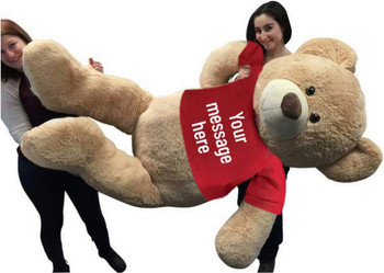 Custom Red Tshirt Dressed on to Big Plush® Giant 6 Foot Teddy Bear Soft wears Personalized  Tshirt that You Design