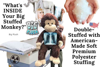 This big stuffed monkey is double stuffed with soft premium American-made polyester stuffing that lasts a long time for limitless hugs