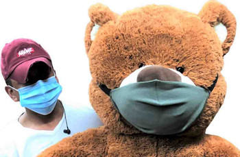Big Plush® giant 5 Foot teddy bear that wears a cloth face mask is a great social distancing gift - 2