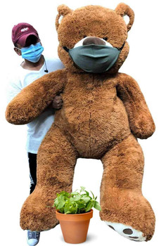 Big Plush® giant 5 Foot teddy bear that wears a cloth face mask is a great social distancing gift - 1