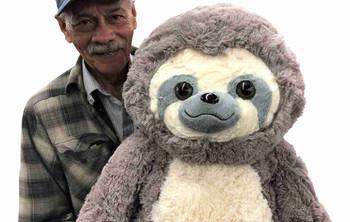 Big Stuffed Sloth 30 inches Tall Soft 77 cm Big Plush Jumbo Stuffed Animal Gray Color