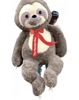 You custom design the text that goes on this huge 7 foot stuffed sloth's red satin neck ribbon bow.