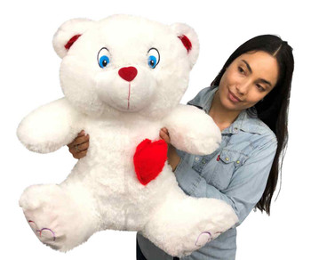 Big Plush® 2 Foot Teddy Bear 24 Inches Soft White Plushie with Red Nose and Heart on Chest