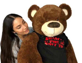 Big Plush® 5 Foot Giant Teddy Bear Soft, Wears Removable Tshirt Shawty U Fine as Shit Tho, Weighs 14 Pounds