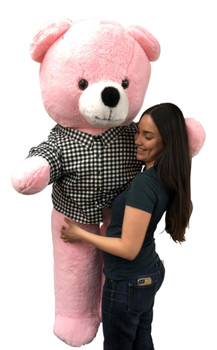 Bespoke Custom Dress Shirt that You Help Design is Dressed on to this 6 Foot Giant Pink Teddy Bear Soft 72 inches 183 cm