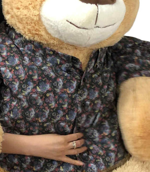 Bespoke Custom Dress Shirt that You Help Design is Dressed on to this 5 Foot Giant Beige Teddy Bear Soft 72 inches 183 cm
