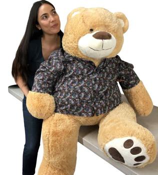 Custom made dress shirt worn by giant 5 foot teddy bear
