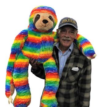 Big Plush 36 inch rainbow color stuffed sloth