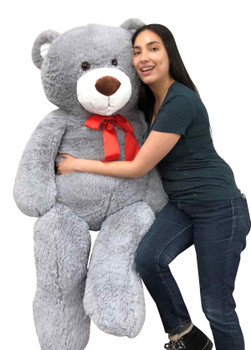 5ft Giant Stuffed Teddy Bear 60 Inches 153 cm Soft  Silver Gray Color Big Plush Huge Premium Quality Stuffed Animal