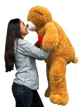 Giant Stuffed 4ft Teddy Bear has Heart on it's Chest  48 Inches 122 cm Soft  Big Plush Huge Stuffed Animal Brown Color