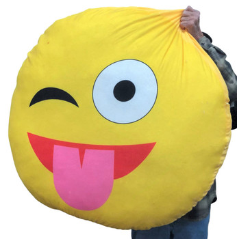 Giant Stuffed Emoji Pillow 44 inches 112 cm Big Plush Smiley Face with Tongue Stuck Out Licking Lips Enormous Novelty Gift Cushion