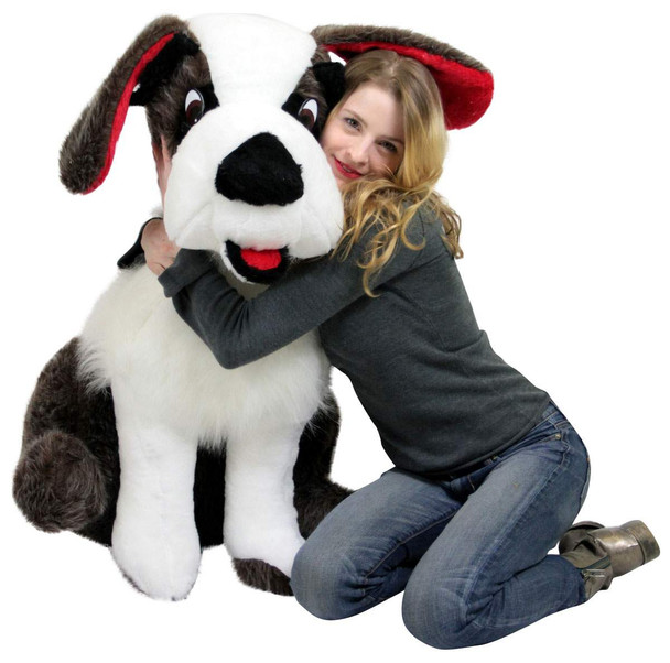Huge stuffed dog Saint Bernard made in the USA measures over three feet tall available with free personalization and free shipping.