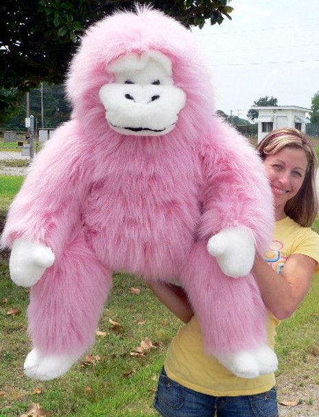 American Made Giant Stuffed Pink Monkey Gorilla 40 Inches Soft Made in USA