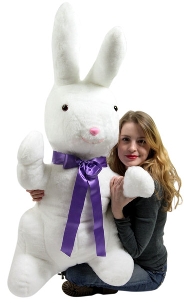 American Made Giant Stuffed Bunny White Soft 42 Inch Big Plush Rabbit
