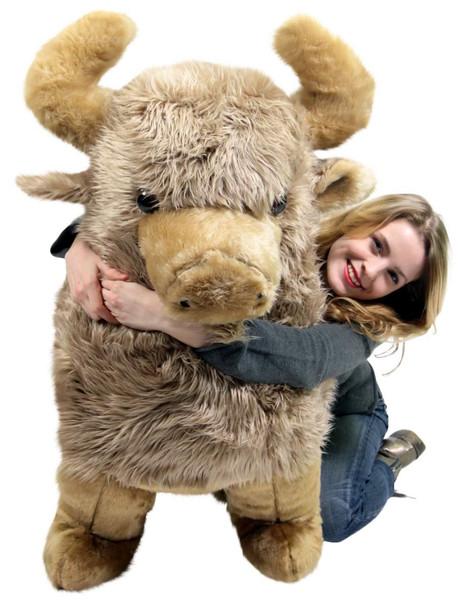 American Made Giant Stuffed Brown Buffalo 44 Inch Soft Huge Big Plush Animal