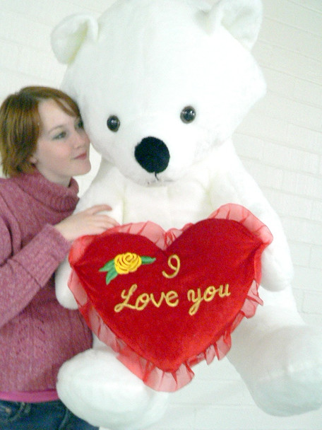 American Made Giant White Valentine Teddy Bear Holds I Love You Heart Pillow, Soft Huge 3 Feet Tall While Sitting, Weighs 16 Pounds
