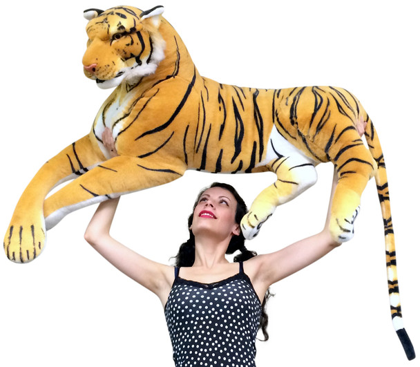 Giant Realistic Stuffed Tiger 48 Inches Stunning Soft and Super Sized Ultimate Big Plush Wild Cat