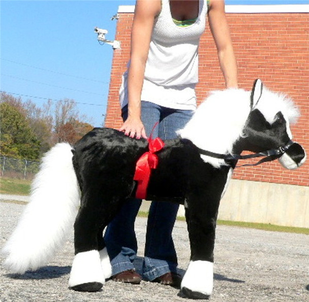 American Made Giant Stuffed Black Pony 36 Inch Soft Plush Horse Made in USA