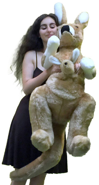 American Made Big Stuffed Kangaroo 42 Inches Tall With Baby in Pouch Made in the USA America