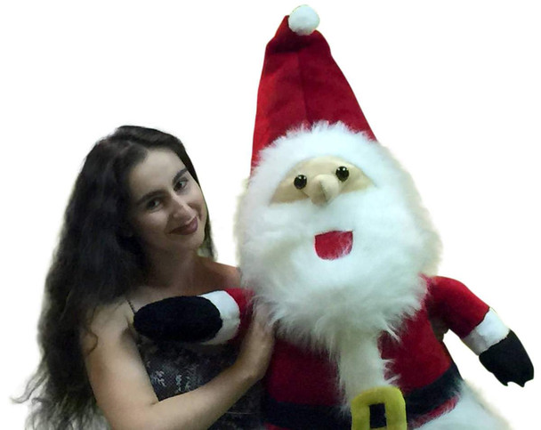 American Made Giant Stuffed Standing Santa Claus 4 Feet Tall Soft Premium Quality Large Christmas Plush 48 Inches, Legs do Not Bend so it Stands Upright and can Not Sit Down