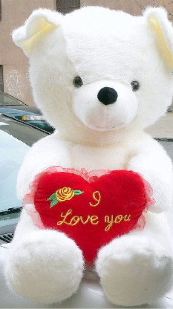 American Made Big Love Giant Teddy Bear 54 Inches White Soft Made in America