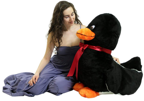 American Made Giant Stuffed Black Duck 36 Inch Soft Plush Ducky 3 Feet Big