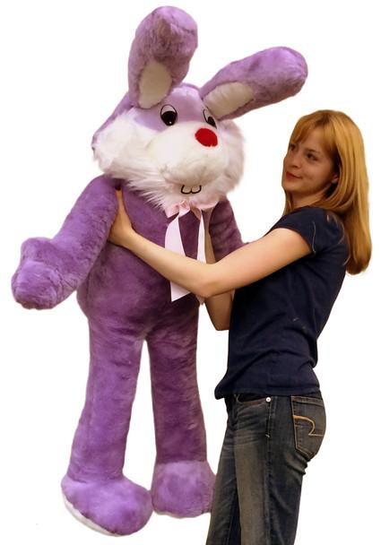 American Made Giant Stuffed Bunny 50 Inch Soft Purple Big Plush Rabbit Made in USA