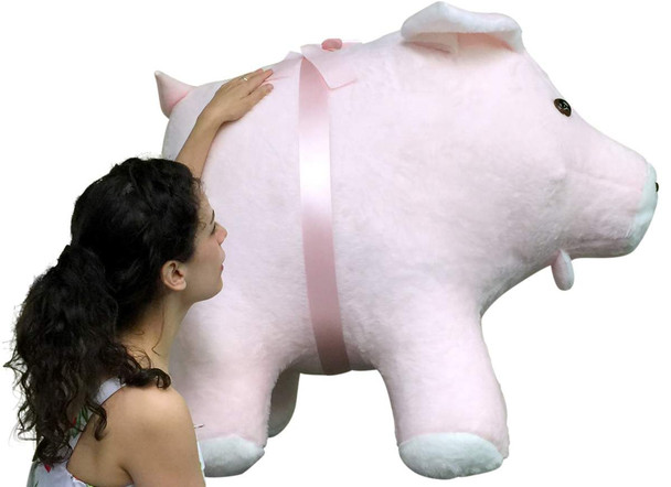 American Made Giant Stuffed Pig 40 Inches Pink Color Soft Made in the USA