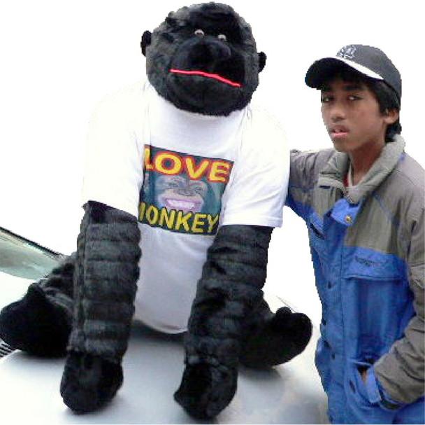 American Made Giant Stuffed Love Monkey Gorilla 50 Inches LOVE MONKEY SPANK HERE