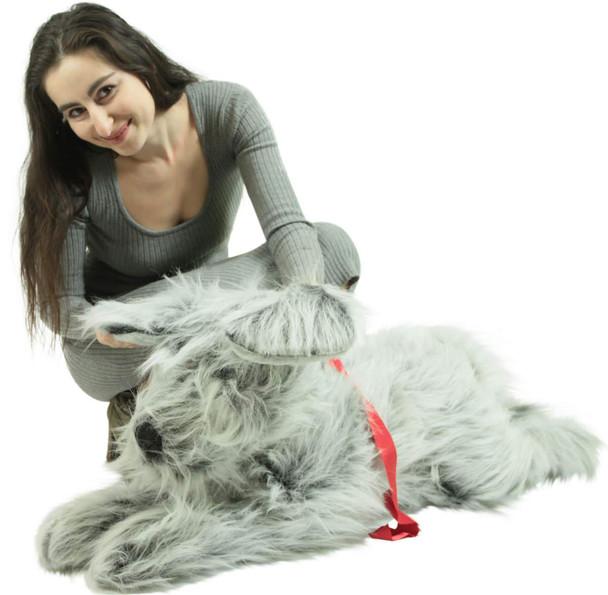 American Made Giant Stuffed Dog 42 Inch Soft Plush Gray Labrador Retriever