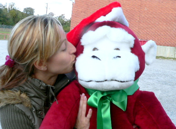 American Made Big Stuffed Red Gorilla Monkey 40 inches Wears Removable Santa Hat for Christmas Funta