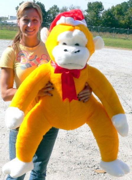 American Made Giant Yellow Stuffed Monkey 40 Inch Soft Big Plush Christmas Gorilla Wearing Santa Hat