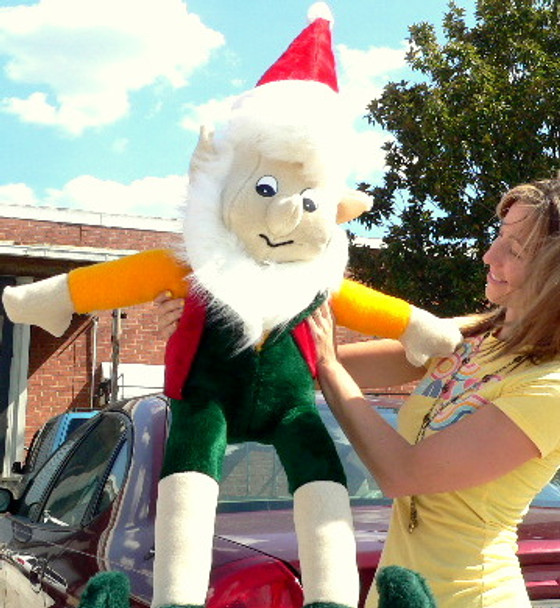 American Made Giant Stuffed Elf 5 Foot Big Christmas Plush White Beard
