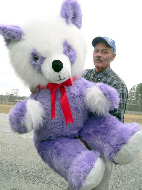American Made 6 Foot Purple Teddy Bear Panda Giant Plush Soft Stuffed Animal Made in the USA America