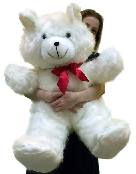 American Made Giant White Teddy Bear 36 Inch Soft 3 Foot Teddybear Made in USA