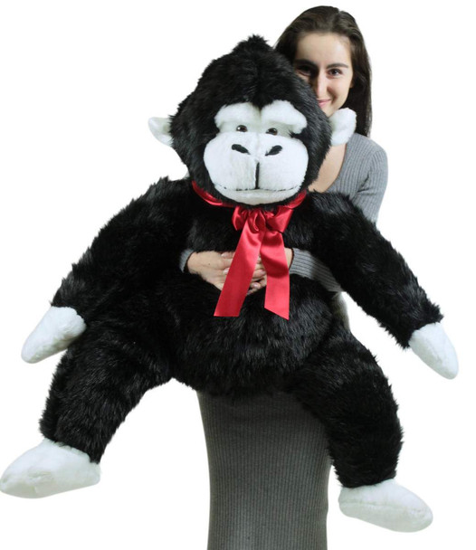 American Made Giant Stuffed Monkey 40 Inch Soft Black Big Stuffed Gorilla Made in USA