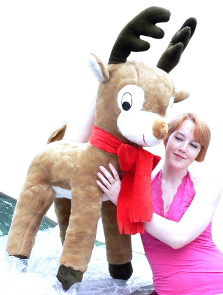 American Made Life size 4 feet-tall Big Plush Reindeer Wearing Red Scarf - Jumbo Christmas Winter Deer