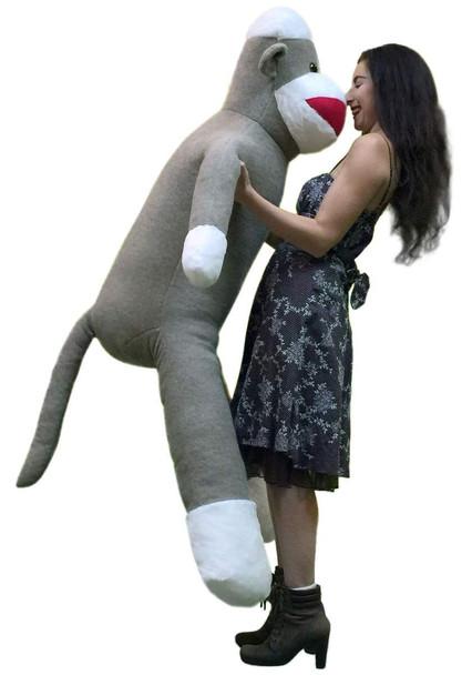 Big Plush 6 Foot Giant Sock Monkey Soft Huge Stuffed Animal Made in USA America