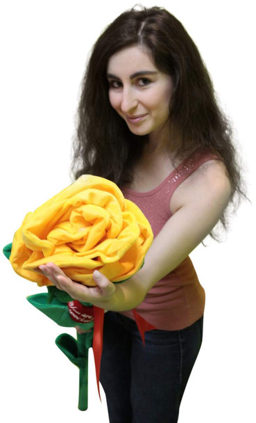 Giant Yellow Rose 6 Feet Tall Big Plush Flower, Teddy Bear on Stem Says You Are Special